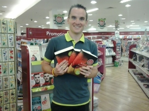 The lovely Fergal from Easons Carlow obligingly holds on to some of the books