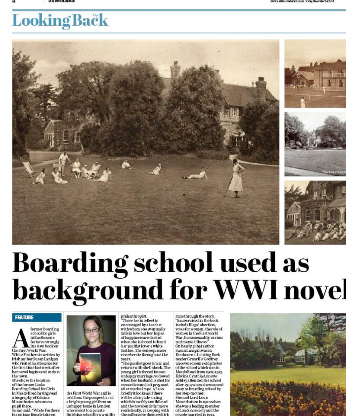 Picture of the Links School, including lawn tennis courts and ladies lounging around. Also article about me!