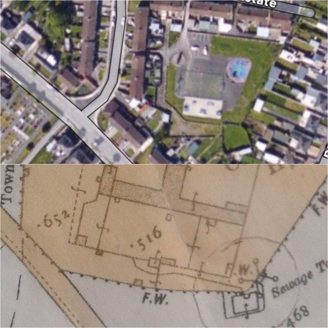 The site today alongside 1905/6 OS map revision